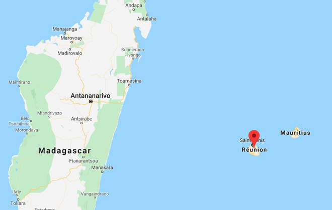 The Reunion Island is located between Madagascar and Mauritius