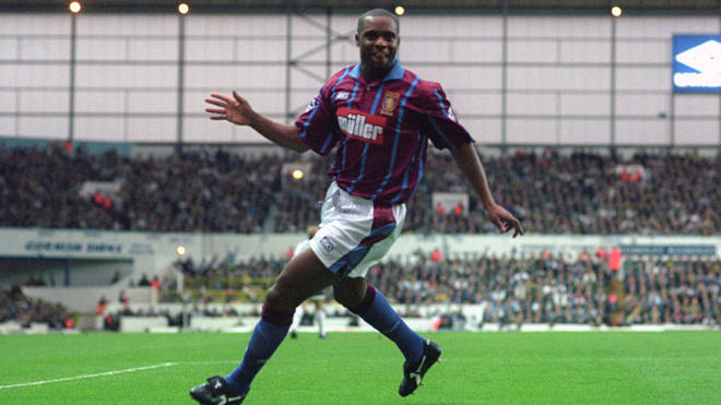 Dalian Atkinson celebrates a goal against Tottenham Hotspur in his days as a player in 1994