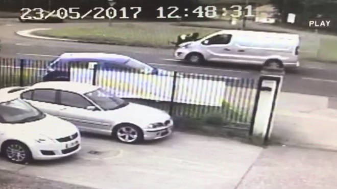 CCTV shows the delivery driver clinging on to the bonnet of his van.
