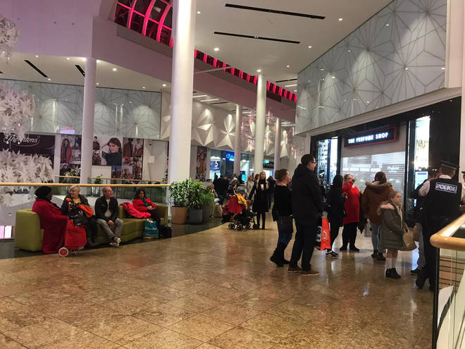 Shops have shut in the centre, leaving shoppers milling about