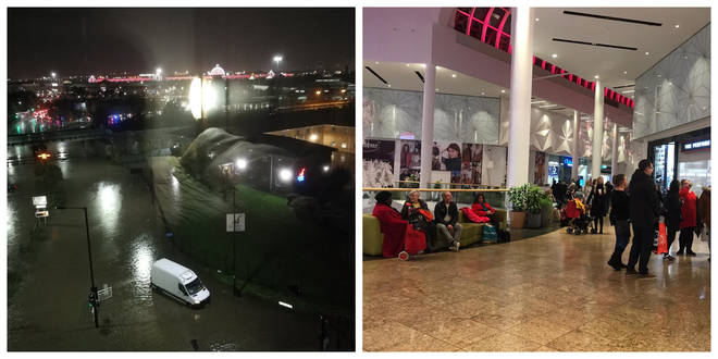 Shoppers are being kept inside Meadowhall Shopping Centre as the floodwaters rsie