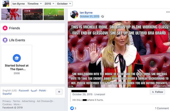 One of the offensive posts shared by Ian Byrne