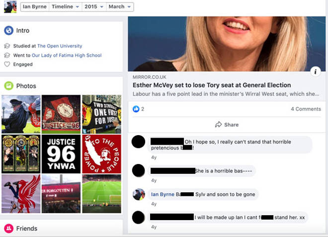 Mr Byrne's comments about Esther McVey have caused controversy
