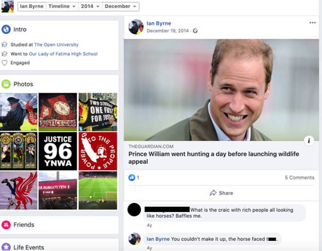 Mr Byrne's offensive comment about Prince William
