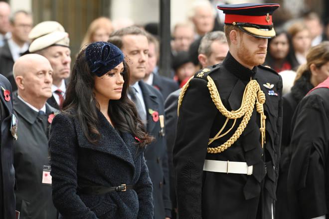 The Duke and Duchess of Sussex at the Cenotaph at Remembrance Sunday