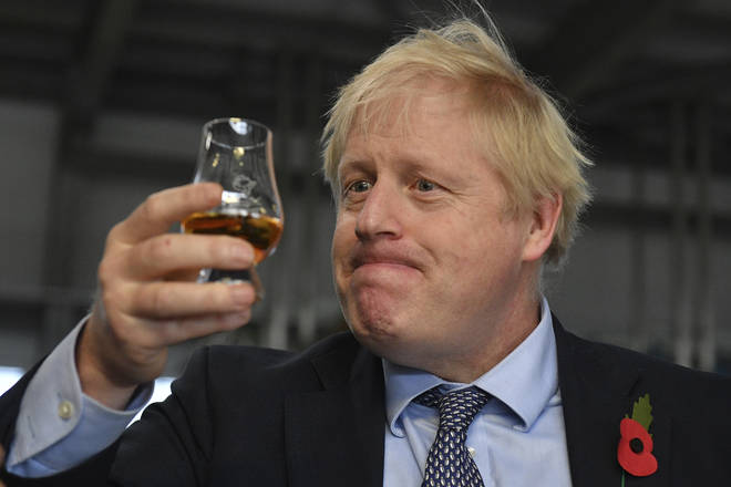 Boris Johnson visited a distillery in Scotland yesterday