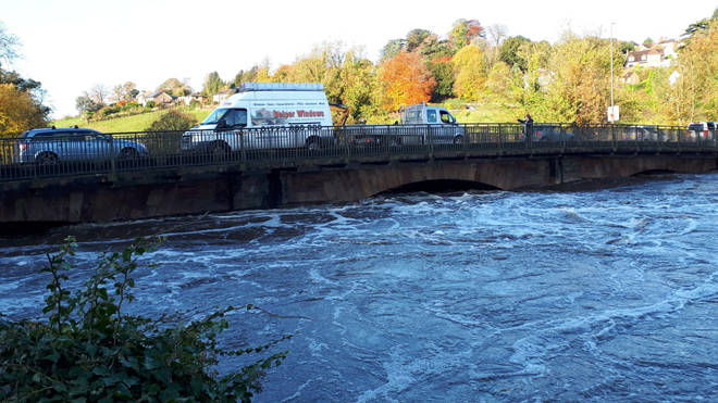 Flooding in Belper, Derbyshire, after the river Derwent bursts its banks