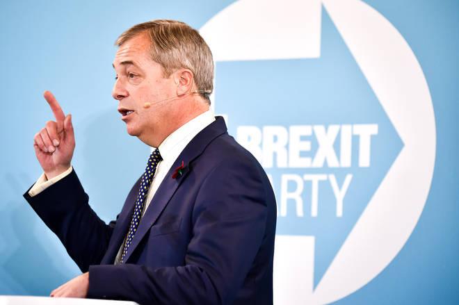 Mr Farage was giving a speech in Pontypool
