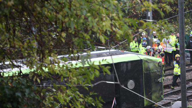 The scene of the fatal tram crash in Croydon in 2016