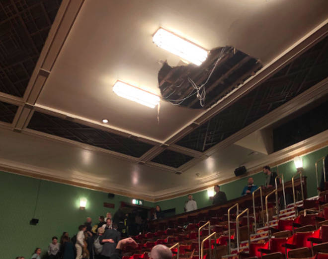 Theatre-goers had to evacuated Piccadilly Theatre on Wednesday night aftet the ceiling collapse