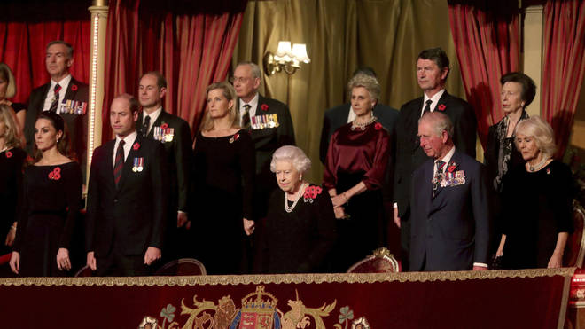 The Queen joined her family at the Festival of Remembrance at the Royal Albert Hall