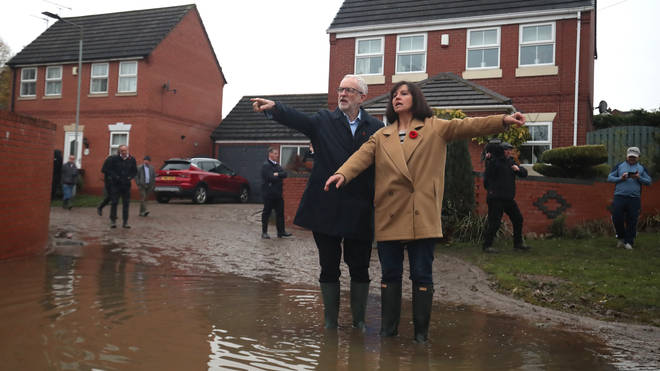Jeremy Corbyn visits a flooded part of the UK yesterday