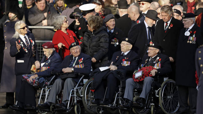 Military veterans arrive for the Remembrance Sunday ceremony at the Cenotaph