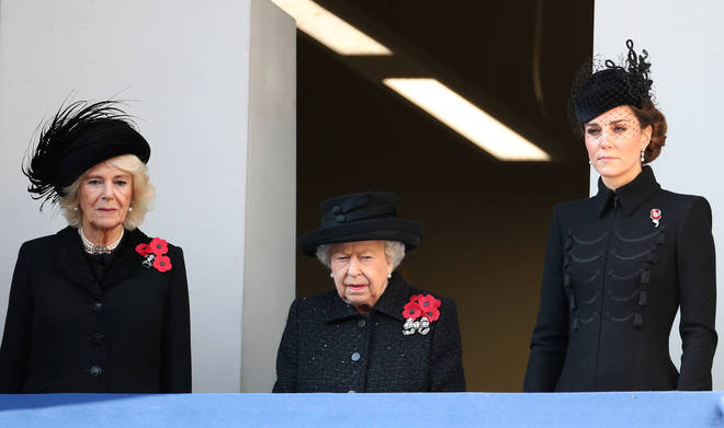 The Duchess of Cornwall, the Queen and the Duchess of Cambridge watch the service at the Cenotaph