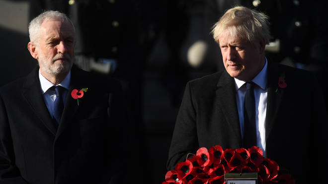 Both party leaders put election campaigns aside to attend the national remembrance service