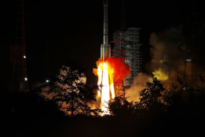 A carrier rocket with a BDS satellite launches from a Satellite Launch Centre in China