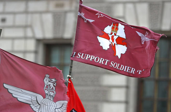 Hundreds of people protested in London over the charging of 'Soldier F'