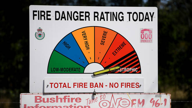 A bushfire danger rating sign is seen near Richmond, west of Sydney