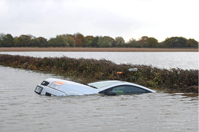 A car floating in the water on the outskirts of Fishlake, Doncaster