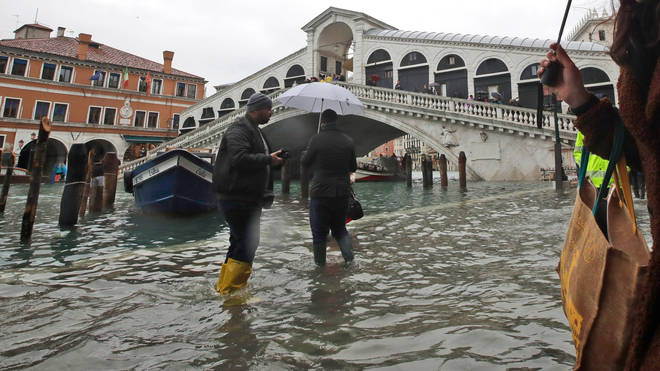 Areas around the iconic Rialto Bridge were underwater
