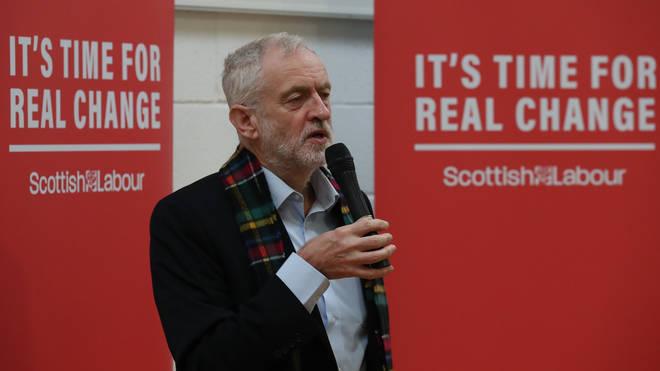 Jeremy Corbyn at the Heart of Scotstoun community centre on Wednesday