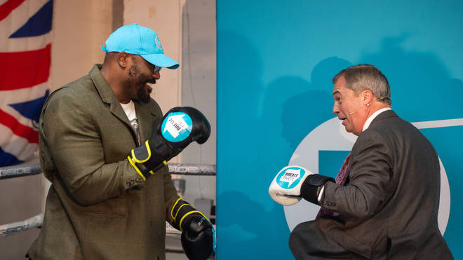 Mr Farage appeared alongside boxer Dereck Chisora