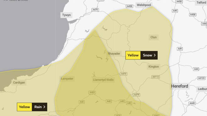The Met Office warning for Wales and the South West