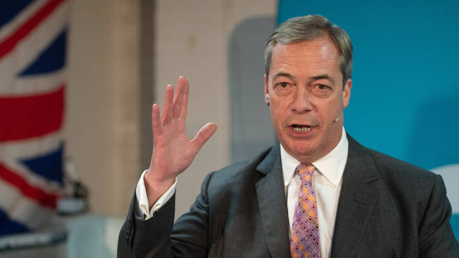 Nigel Farage during a party rally at the Gator ABC Boxing Club, in Hainault, Essex