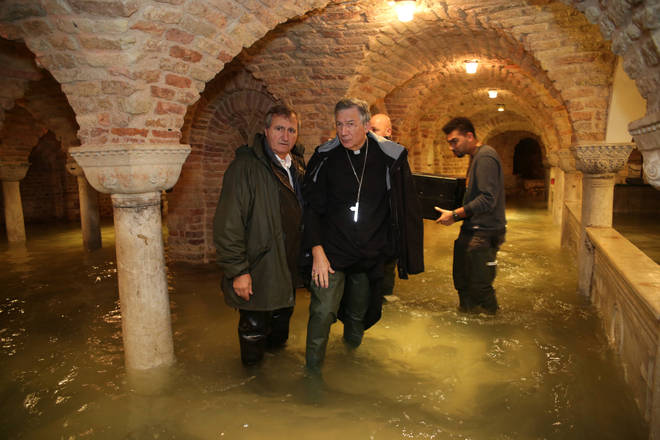 The flooded crypt of the Basilica of San Marco