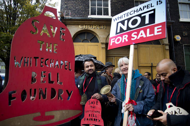 Protest against hotel development at the Whitechapel Bell Foundry
