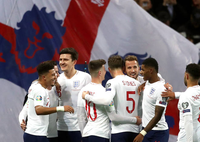 England fired seven goals past Montenegro to win their group