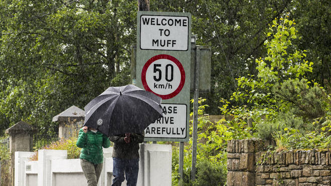 The Donegal town of Muff in the Republic of Ireland within yards of the UK border