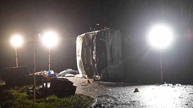 The minibus overturned on the B1040 in Cambridgeshire
