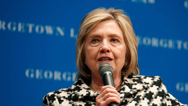 File photo: Hillary Clinton speaks at Georgetown Law's second annual Ruth Bader Ginsburg Lecture