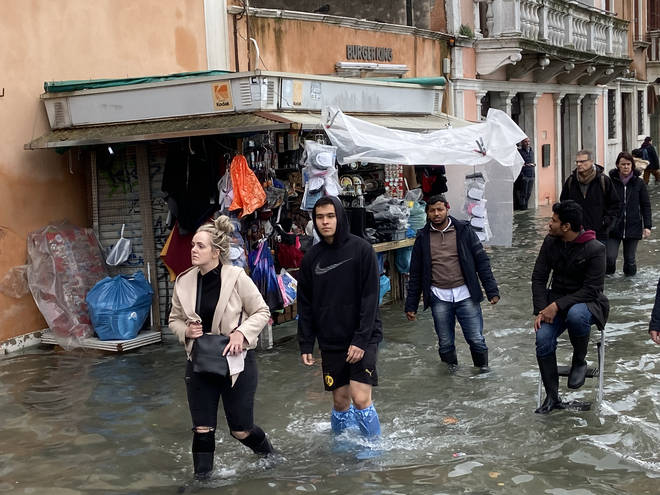 Venice is struck by high water floods