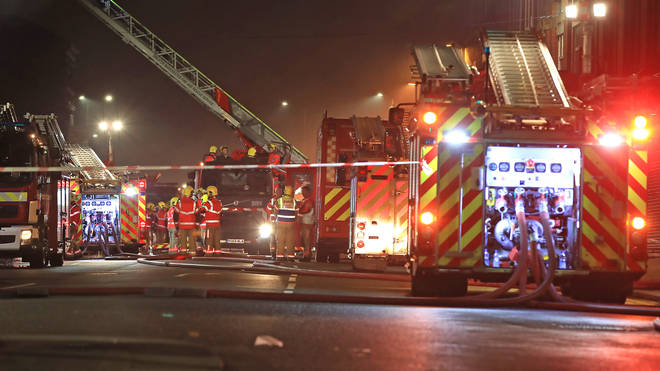 Firefighters tackling the blaze on Friday night