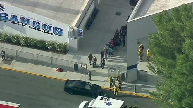 Students were led from Saugus High School by police