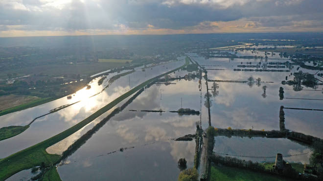 The flood water at Fishlake, in Doncaster, South Yorkshire