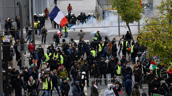 Crowds gathered across Paris on the anniversary of the movement