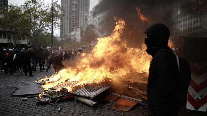 Fires were started in the streets as unrest swelled