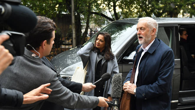 The Labour leader pictured arriving at the meeting this afternoon