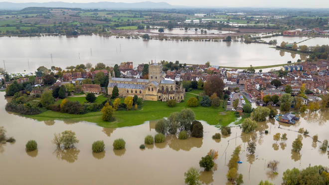 An aerial view of flooding around Tewkesbury Abbey, in Tewkesbury, Gloucestershire