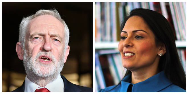Labour leader Jeremy Corbyn and Priti Patel