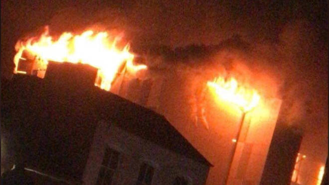 The huge blaze broke out at The Cube in Bolton on Friday