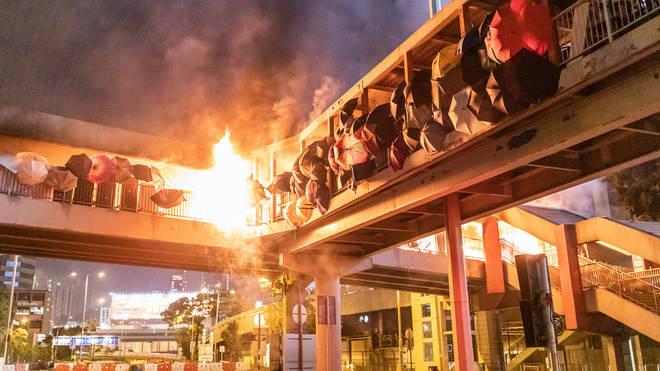 The blaze engulfed the footbridge