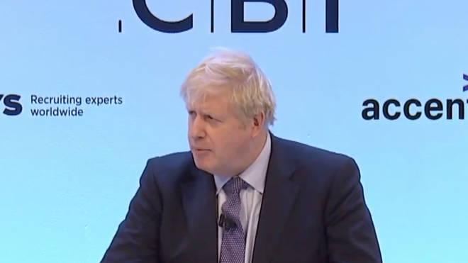 Boris Johnson was speaking to business leaders