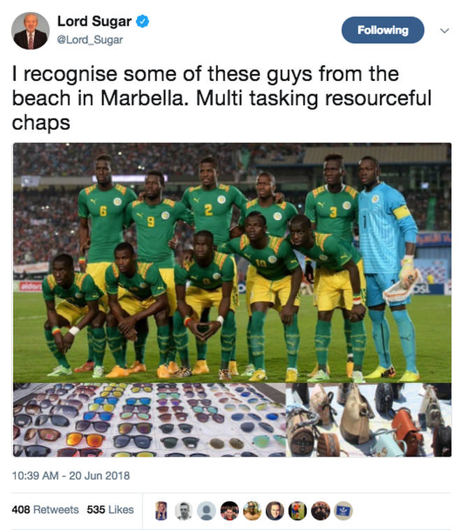 Lord Sugar's controversial tweet