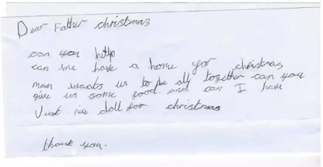 """The little girl asked Santa to help her family """"be all together"""""""