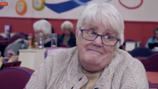 This unnamed woman made light of the situation during a visit to the Bingo hall in Derbyshire