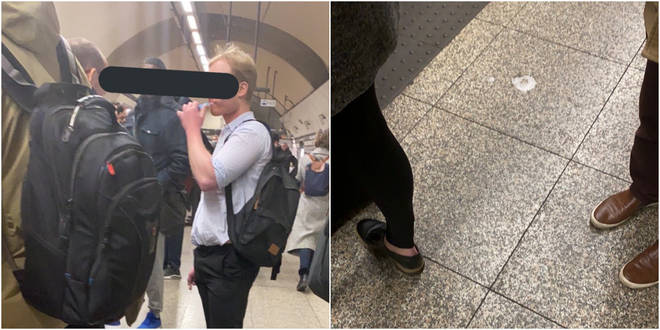 The man was brushing his teeth in front of other commuters